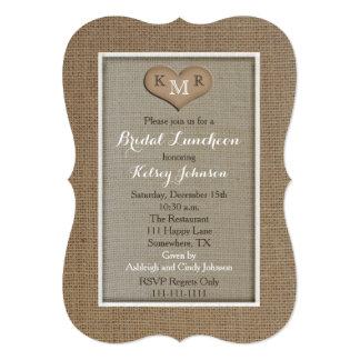 "Bridal Luncheon Invitations - Burlap Look 5"" X 7"" Invitation Card"