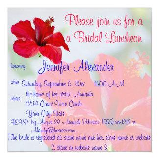 "Bridal Luncheon Pretty Tropical Flowers 5.25"" Square Invitation Card"