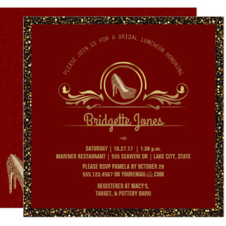 Bridal Luncheon | Red Gold Glitter Bridal Shower Card