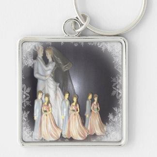Bridal Memories Silver-Colored Square Keychain