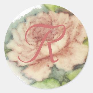 Bridal Monogram Sticker-Cust. Classic Round Sticker