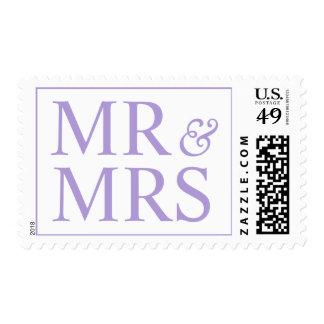 Bridal Mr and Mrs Themes Light Pastel Purple Postage Stamp