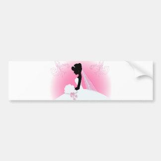 Bridal Mrs Right Pink bride silhouette Bumper Sticker