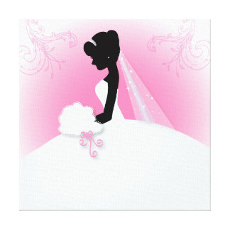 Bridal Mrs Right Pink bride silhouette Canvas Print