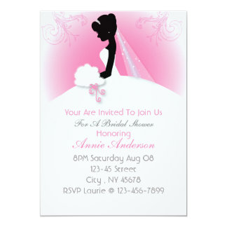 Bridal Mrs Right Pink bride silhouette Card