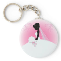 Bridal Mrs Right Pink bride silhouette Keychain