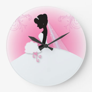 Bridal Mrs Right Pink bride silhouette Large Clock