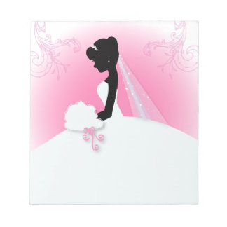 Bridal Mrs Right Pink bride silhouette Notepad