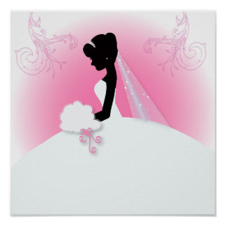 Bridal Mrs Right Pink bride silhouette Poster