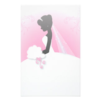 Bridal Mrs Right Pink bride silhouette Stationery