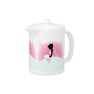 Bridal Mrs Right Pink bride silhouette Teapot