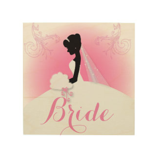 Bridal Mrs Right Pink bride silhouette Wood Wall Decor