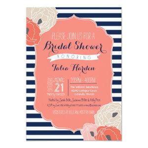 Bridal or Baby Shower Invitaion, Bold Stripe Coral 5x7 Paper Invitation Card