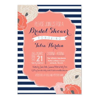 Bridal or Baby Shower Invitaion, Bold Stripe Coral Card