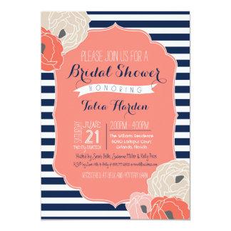 Bridal or Baby Shower Invitaion, Bold Stripe Coral Card
