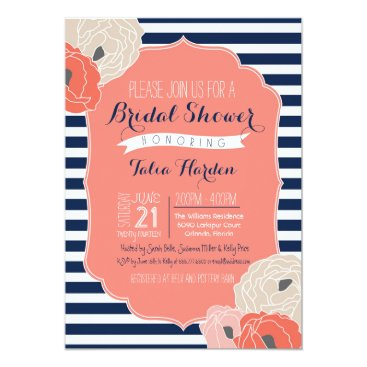 Toddler & Baby themed Bridal or Baby Shower Invitaion, Bold Stripe Coral Card