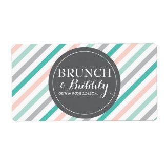 Bridal or Baby Shower Stripes Mini Champagne Label