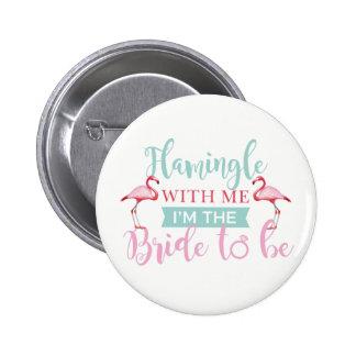 Bridal Party AlohaTeam Bride Flamingle Badges Button