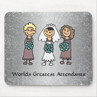 Bridal Party Attendants and Bride with flowers Mouse Pad
