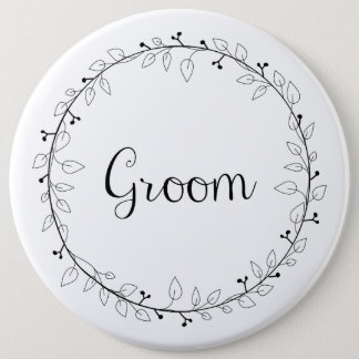 Bridal party badges Groom Button