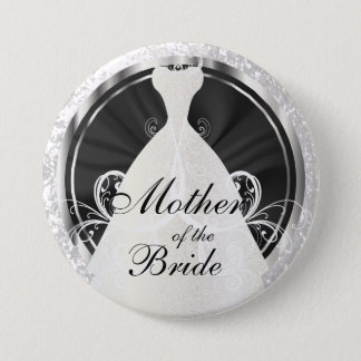 Bridal Party | Black, White & Silver Accents Button