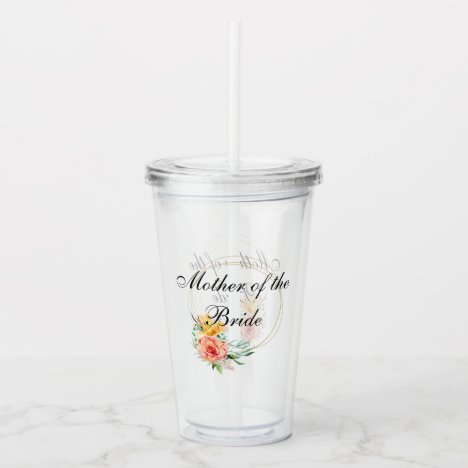 Bridal Party Gift Bachelorette Mother of the Bride Acrylic Tumbler