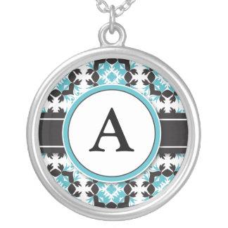 Bridal Party Gift - Monogram Pendant (aqua)