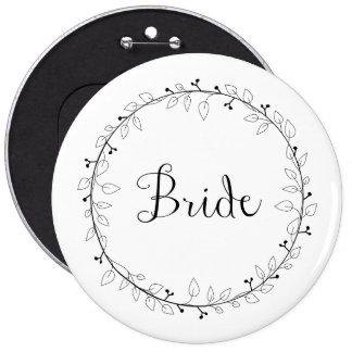 Bridal party identification Bride 6 Inch Round Button