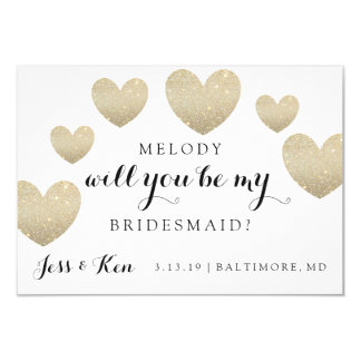 "Bridal Party Invite Card - Fab Hearts 3.5"" X 5"" Invitation Card"