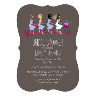Bridal Party on Bike Bridal Shower Invitation Custom Announcement