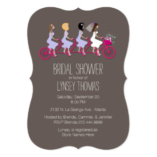 Bridal Party on Bike Bridal Shower Invitation