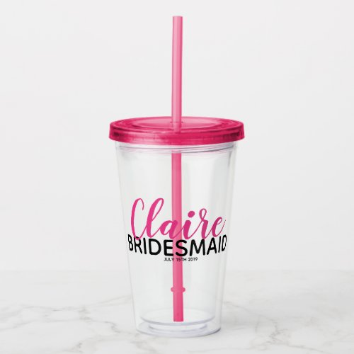 Bridal Party Pink Bridesmaid Name On Drink Bottle Acrylic Tumbler