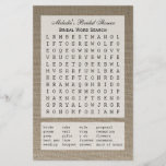 """Bridal Party Shower Word Search Game - Burlap<br><div class=""""desc"""">A bridal party shower word search game is a fun game for a bridal shower and this design is no exception. Featuring twenty wedding words on a burlap background, you can personalize this party game with the name of your bride! A great way to add a personal touch and a...</div>"""