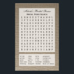 """Bridal Party Shower Word Search Game - Burlap Flyer<br><div class=""""desc"""">A bridal party shower word search game is a fun game for a bridal shower and this design is no exception. Featuring twenty wedding words on a burlap background, you can personalize this party game with the name of your bride! A great way to add a personal touch and a...</div>"""