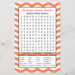 """Bridal Party Shower Word Search Game - Coral<br><div class=""""desc"""">This fun coral bridal party shower word search game features 20 wedding words hidden in the puzzle. The background for the puzzle is a coral and white zigzag chevron pattern. This pretty coral pattern extends to the back of the word search game. You can customize the game with the name...</div>"""