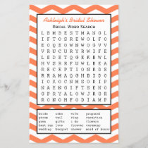 Bridal Party Shower Word Search Game - Coral