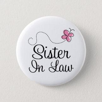 Bridal Party Sister In Law Pink Wedding Button