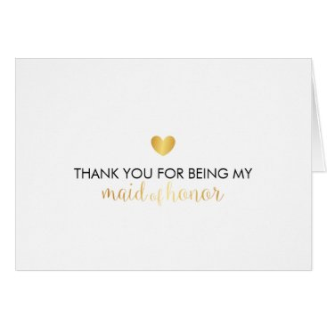 Valentines Themed Bridal Party Thank You Card - Heart Script Maid of