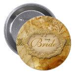 """Bridal party"" vintage gold brown victorian 3 Inch Round Button"