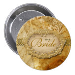 """""""Bridal party"""" vintage gold brown victorian Button"""