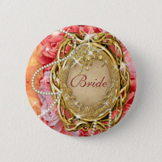 Bridal party vintage rose flower pearl pinback button
