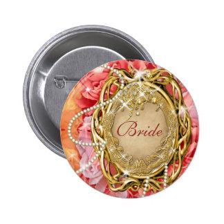 Bridal party vintage rose flower pearl pinback button