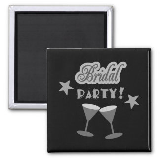 Bridal Party With Stemmed Glasses, Grays 2 Inch Square Magnet