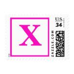 Bridal Post Cards Rate Monogrammed Electric Pink Postage Stamp