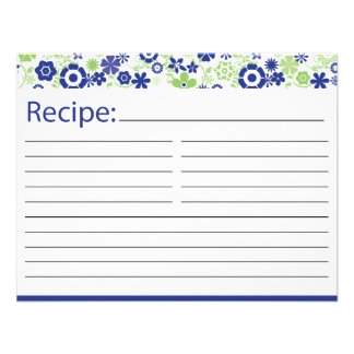 Bridal Recipe Card Lime and Navy