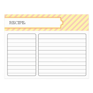 Bridal Recipe Card - Orange and Yellow Post Cards