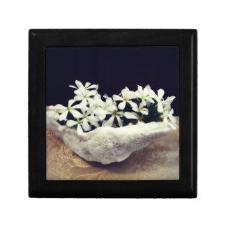 Bridal Ring Jewelry box, white flower, devotional