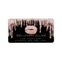 Bridal RSVP Kiss Rose Lips Black  Glitter Makeup Label