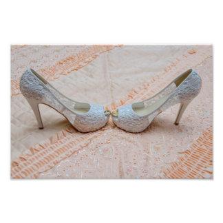 Bridal shoes and wedding rings photo print