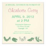 Bridal Shoes Bridal Shower Invitations Green/White